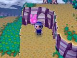 崖の下で風船を